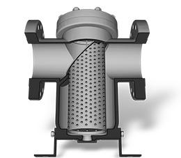 basket strainer cutaway showing straining element and flow path - Basket Strainer